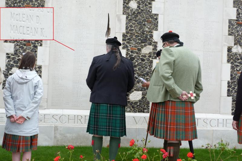 Clans Maclean and Hay at Maclean Panel Tnye Cot Cemetery