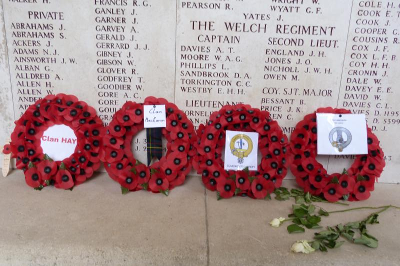 The clans wreaths at Menin Gate